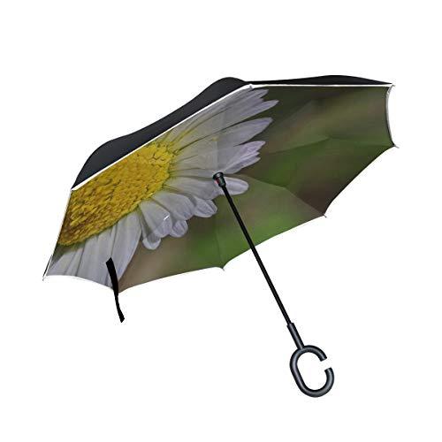 M-MAX Maxm Daisy Flower Petals Bud Inverted Umbrella Large Double Layer Outdoor Rain Sun Car Reversible Umbrella (Layers Petals Daisy Flower)