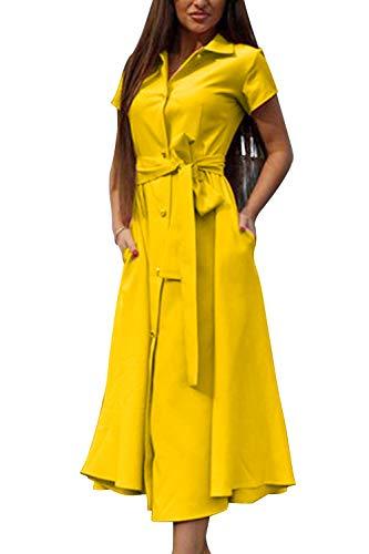 Frente Arriba cambian del botón el Amarillo Vestidos Visten Cambio con de para Las Kelice Correa la los Mujeres Abierto YHWxvwzHn0