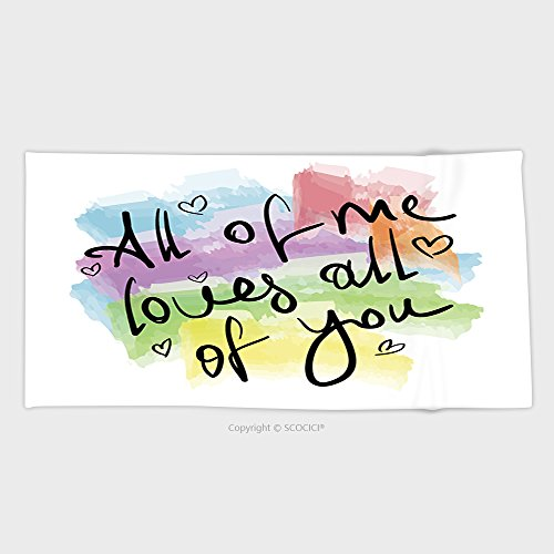 55.1W x 27.5L Inches Cotton Microfiber Bathroom Towels Ultra Soft Hotel SPA Beach Pool Bath Towel All Of Me Loves All Of You Romantic Love Quote Note As Greeting Card Postcard Poster Sticker 304172153