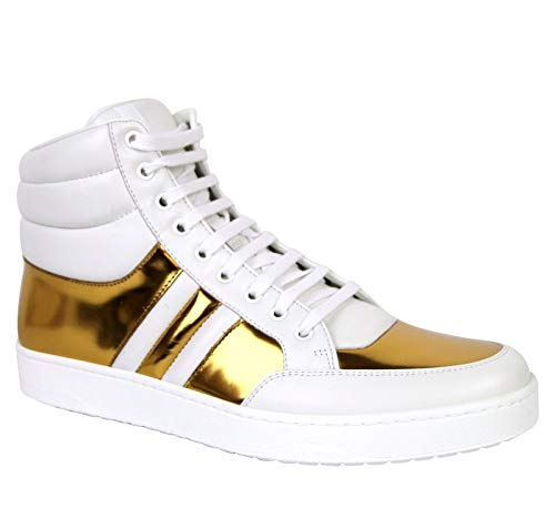 ast Padded White/Gold Leather Sneaker 368494 9068 (7.5 G / 8 US) ()