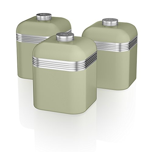 Swan SWKA1020GN Set of 3 Retro Storage Canisters, Green (Vintage Storage Canisters)