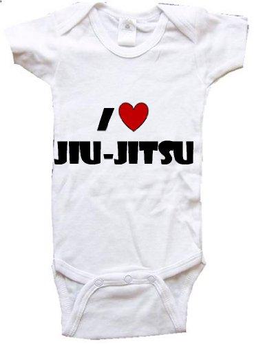 BigBoyMusic I Love JIU-Jitsu Baby Designs - White Baby One Piece Bodysuit - Size Medium (12-18M) (Jitsu Baby Jiu Clothes)