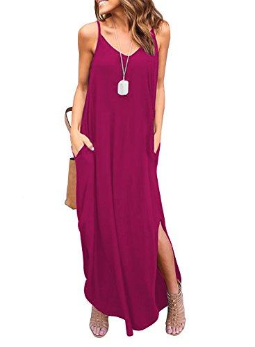 (HUSKARY Women's Short Sleeve Loose Plain Maxi Dresses Casual Long Dresses with Pockets Plum Red )