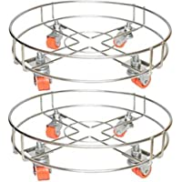 Khubinath Stainless Steel Gas Cylinder Trolley with Wheels | Gas Trolley/LPG Cylinder Stand Set of 2 (Double Wire)