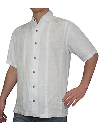 Tommy Bahama Mens Light Weight Linen, Summer Camp Shirt L White
