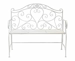 WHITE WROUGHT IRON SHABBY CHIC GARDEN OUTDOOR BENCH 3.4FT 2 SEATER