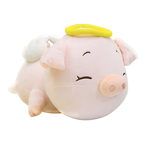 (Rain's Pan Angel Pig with Clouds Plush Stuffed Animals Toys Dolls Pillow Pink 24