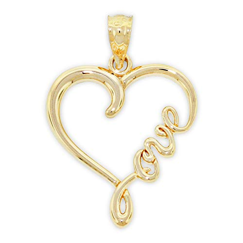 Charm America - Gold Love Heart Charm - 14 Karat Solid Gold (Love Necklace Gold Charm)