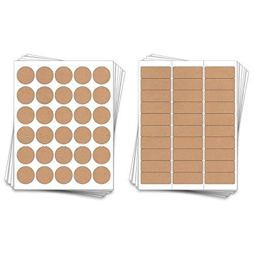 - 150 Printable Address Sheet Labels, Laser or Inkjet, (Kraft Brown)