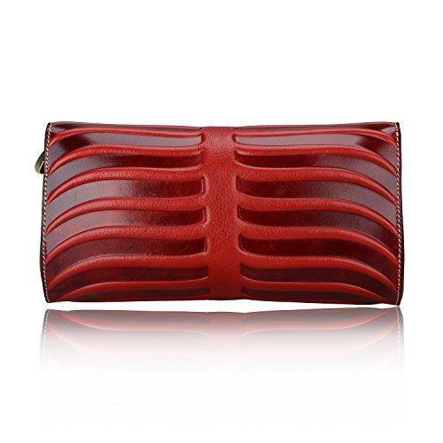 Pijushi Leaf Designer Handbags Embossed Leather Clutch Bag Cross Body Purses 22290 (One Size, Red) by PIJUSHI (Image #6)