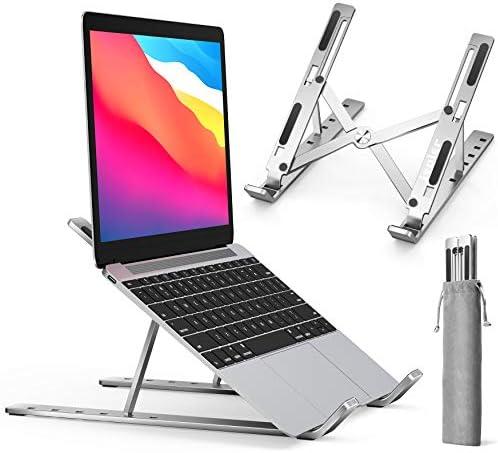 "Laptop Stand, iVoler Laptop Holder Riser Computer Tablet Stand, 6 Angles Adjustable Aluminum Ergonomic Foldable Portable Desktop Holder Compatible with MacBook,iPad, HP, Dell, Lenovo 10-15.6"" Silver"