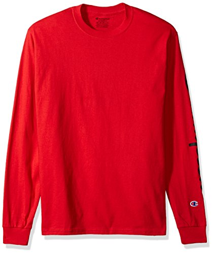 - Champion Men's Classic Jersey Long Sleeve Graphic T-Shirt, Red, Lg