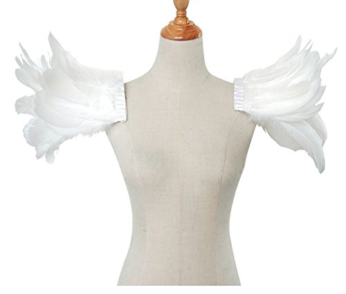 White ZAKIA Gothic Style Natural Real Feathered Epaulet Shrug Cape for Halloween Party