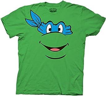 Tmnt teenage mutant ninja turtles blue leonardo face green for Where can i buy ninja turtle shirts