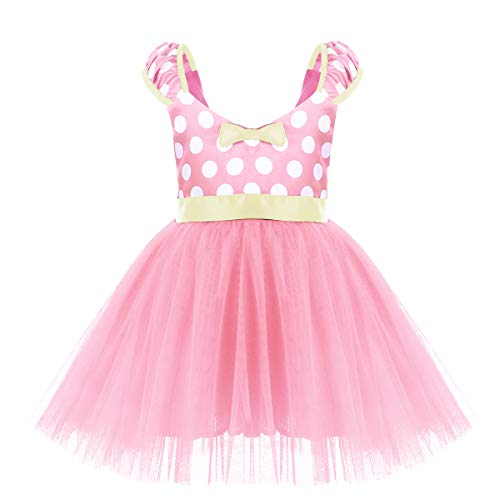 Kids Minnie Costume Baby Girl Tutu Skirt Mouse Polka Dot First Birthday Christmas Fancy Dress Up Princess Pageant Clothes B Pink Short Dress Without 3D Ears 4-5]()