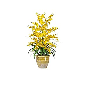 Nearly Natural 1070-YL Triple Dancing Lady Silk Flower Arrangement, Yellow 95