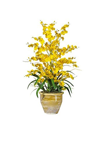 Nearly-Natural-1070-YL-Triple-Dancing-Lady-Silk-Flower-Arrangement-Yellow