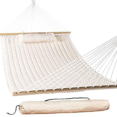 "Lazy Daze Hammocks 55"" Double Quilted Fabric Hammock Swing with Pillow and Carrying Bag, Natural - 【SUPER COMFY】The double-layered quilted polyester with inner polyester padding and a polyethylene stuffing head pillow offer superior comfort. No matter it's in summer or winter, this hammock will always be your first choice for relaxation. 【SUPER DURABILITY】Handcrafted polyester ropes add character and authenticity, and thickness of the end cords contribute greatly to the balance and strength of the hammock. Lay in the hammock with no concern ever. 【SUPER LOOK】55 inches durable Hardwood spreader bar with powder coated in an oil rubbed finish, making it more stable and stylish as well as maximizing style. Believe in us, whoever sees this hammock will envy you. - patio-furniture, patio, hammocks - 41GRPjYXIkL. SS400  -"