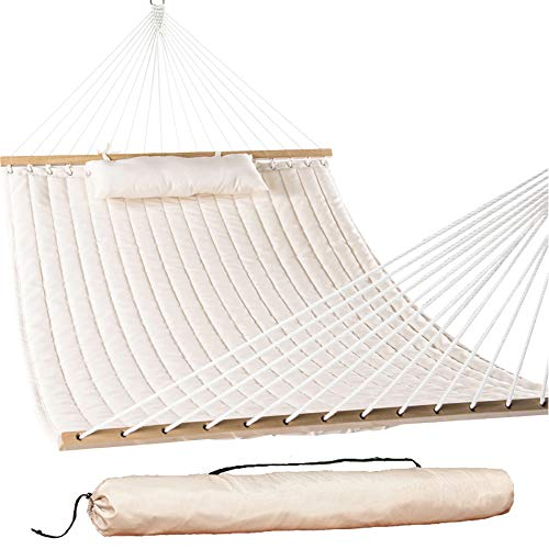 Lazy Daze Hammocks 55 Double Quilted Fabric Hammock Swing with Pillow and Carrying Bag, Natural