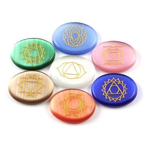 (Healing Crystal Engraved Magic Circle Spiritual Powers Oval Stones Reiki Balancing Cat's Eye Stone 7 pcs)