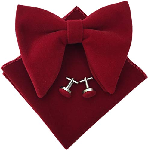 Mens Pre-Tied Oversized Bow Tie Tuxedo Velvet Bowtie Cufflinks Hankie Combo Sets (Wine Red), 4.7 inches x 4.1 inches (Red Bow Oversized)