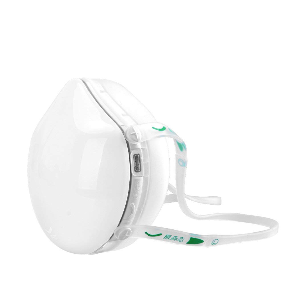 Kids Electric dust mask,Q8S N95 respirator with activated carbon filter,automatic fresh air purifying dustproof mask for pollen allergy,dust,Exhaust Gas,pm2.5 (White)