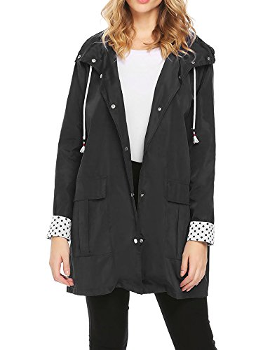 Miageek Womens Lightweight Hooded Drawstring Trench Raincoat Outdoor Waterproof - Jacket Ti