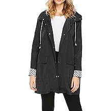 Miageek Womens Lightweight Hooded Drawstring Trench Raincoat Outdoor Waterproof Jacket