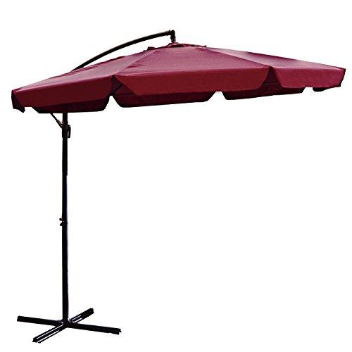 ALEKO UMB10FTBG Adjustable Outdoor Banana Hanging Canopy Umbrella Patio Waterproof Polyester with 360 Degree Rotation 8 x 10 Feet Burgundy