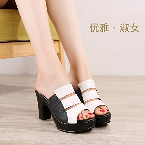Seven Heel Waterproof Drag Shoes Color Summer Fish Heel 9Cm Leather Cool KPHY Rough White Real Matching Table Word Mom Thirty Slippers Mouth High qgvICnx1Fw