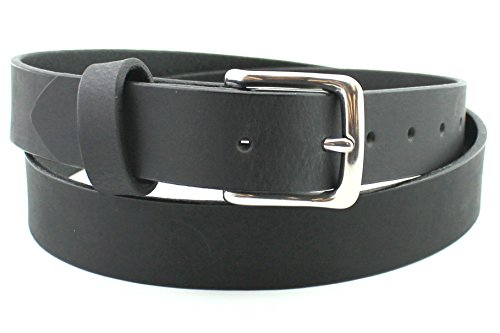 Soft Black Stainless Men's Leather Belt Men Full Grain Solid Custom Hand Made USA 1.25 and 1.5 Inch (Filson Leather Belt compare prices)