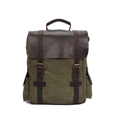 BAGEHUA キャンバス旅行バックパック、中立型のバックパックには、耐久性に優れたファッションラップトップバックパック(長さ 40 センチ、幅 11 センチ、高さ 40 cm ) B076K8BKXY Army green 15 inches Army green 15 inches