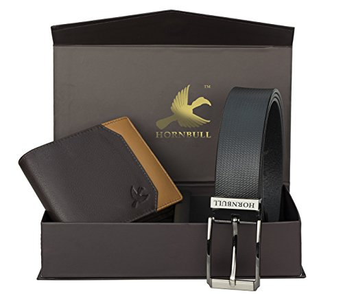 Hornbull Gift Set for Men's - Brown Wallet and Black Belt Men's Combo Gift Set 9355