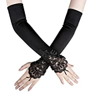 "Xuhan 15""/ 21"" Long Flapper Evening Opera Satin Gloves for Women Elbow Length 1920s"