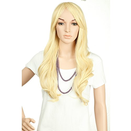 [28'' / 70cm Heat Resistant Synthetic Wig Japanese Kanekalon Fiber Full Wig with Bangs Long Curly Wavy Full Head for Women Girls Lady Fashion and Beauty Pale/Golden] (Invisible Man Costume Diy)