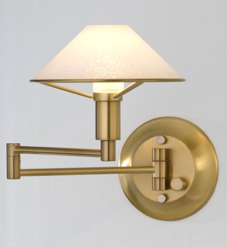 Holtkotter Satin Sconce - Holtkoetter 9426 AB SW Lighting for The Aging Eye Halogen Swing-Arm Wall Sconce, Antique Brass with Satin White Glass