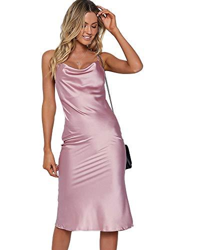 - Moxeay Womens Cowl Neck Backless Spaghetti Strap Cocktail Bodycon Midi Dress (M, Purple)