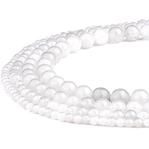 RUBYCA Wholesale Natural White Jade Gemstone Round Loose Beads for Jewelry Making 1 Strand - 8mm - Peridot Gemstone Round Shape