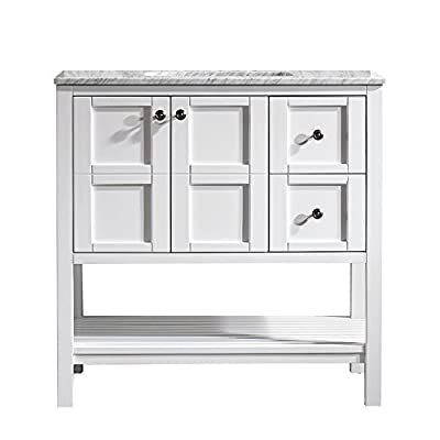 "Vinnova 713036-WH-CA-NM Florence 36"" Vanity in White with Carrera Marble Countertop Without Mirror, Inch - Solid Oak Wood with Laminated Veneer Panels Lends eclectic flair to any bathroom decor Ample space for toiletries - bathroom-vanities, bathroom-fixtures-hardware, bathroom - 41GRQsdmGLL. SS400  -"