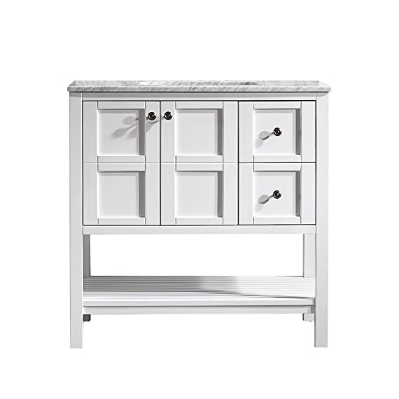 "Vinnova 713036-WH-CA-NM Florence 36"" Vanity in White with Carrera Marble Countertop Without Mirror, Inch - Solid Oak Wood with Laminated Veneer Panels Lends eclectic flair to any bathroom decor Ample space for toiletries - bathroom-vanities, bathroom-fixtures-hardware, bathroom - 41GRQsdmGLL. SS570  -"