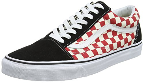Unisex Skool Adults' Black Old Multicolour Vans 35u Red Trainers Checkerboard 7pfd1q
