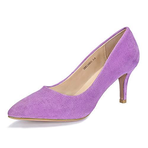 (IDIFU Women's IN3 Classic Slip On Pointed Toe Mid Heel Dress Pump (Lavender Suede, 6 B(M) US))