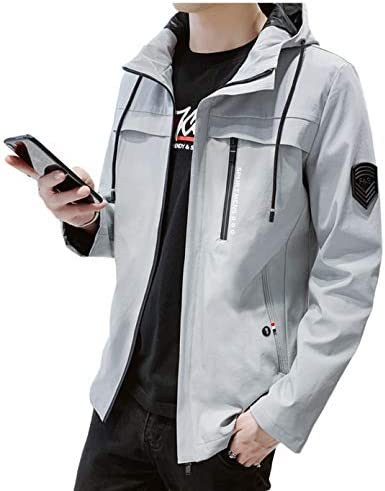 ジャケット メンズ 春秋 コート シンプル ブルゾン 無地 防風 フード付き カジュアル おおきいサイズ