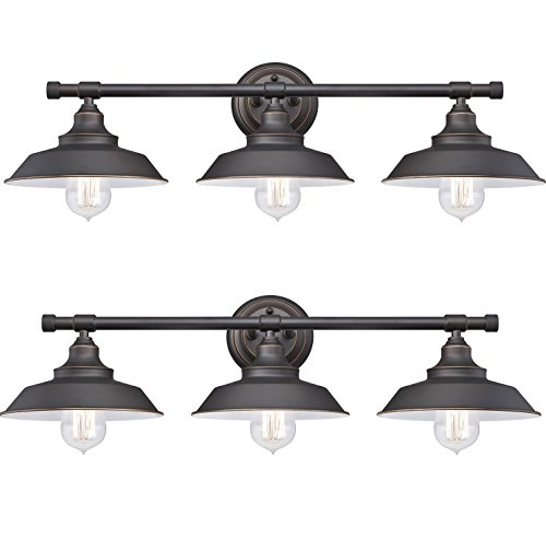 Iron Hill Three-Light Indoor Wall Fixture, Oil Rubbed Bronze Finish with Highlights and Metal Shades (Pack of 2)