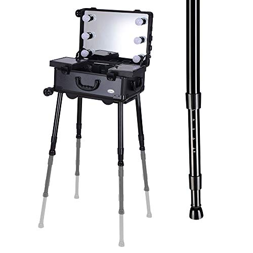 AW Rolling Makeup Case 12x8x20'' with LED Light Mirror Adjustable Legs Lockable Train Table Studio Artist Cosmetic by AW (Image #5)