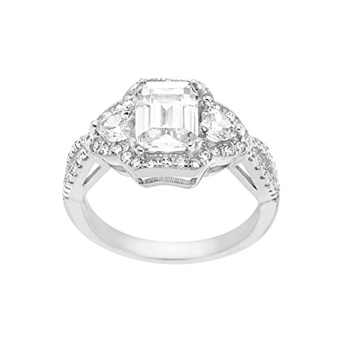 MIA SARINE Emerald Cut Cubic Zirconia Royal Princess Style Royal Princess Style Engagement Ring for Women in Rhodium Plated 925 Sterling Silver (See More Sizes)