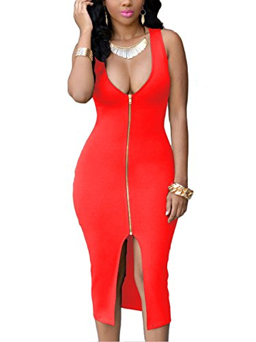 YMING Women Zipper Front Dress Bodycon Midi Dress Evening Party Dress Plus Size Club Dress Red 4XL