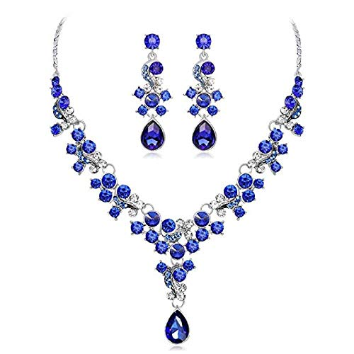 (MERSDW Womens Deals Necklace+Earrings Jewelry Chain Sets Wedding Gift Fashion Floral Tricolor Rhinestone Necklace Earring Set Bridal Necklace Set)