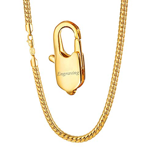 U7 Men Women Fashion Jewelry Personalized Stamped 18K Gold Plated 6MM Unique Snake Chain Necklace 24-Inch, Free Engraving on Clasp