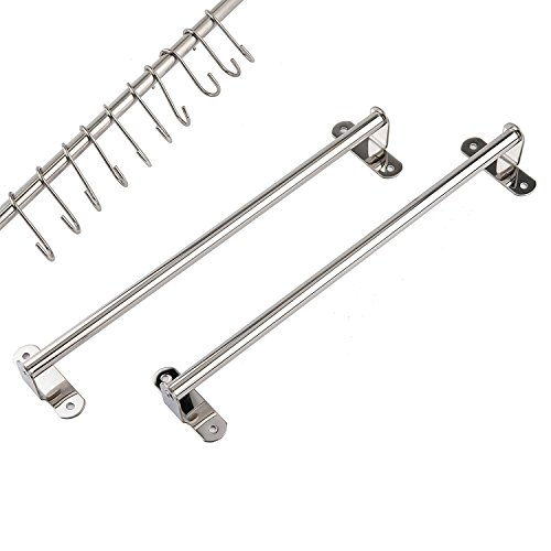 2pcs 15inch Stainless Steel Wall Mounted Pan Pot Lid Rack Kitchen Utensils Hanger Organizer Holder with 15pcs S Hooks (Wall Kitchen Holder)